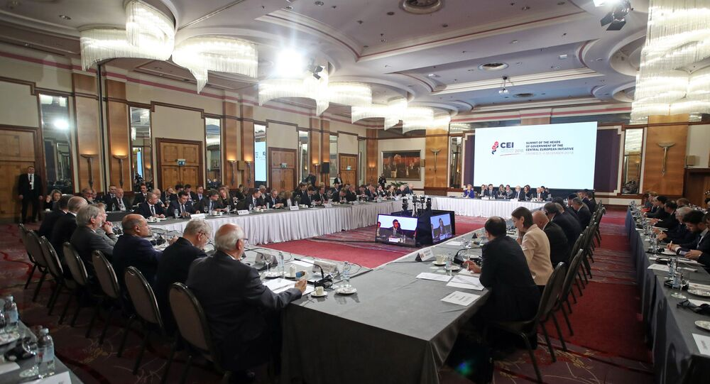 People attend the second day summit meeting of the Central European Initiative (CEI) in Zagreb, Croatia, on December 4,  2018