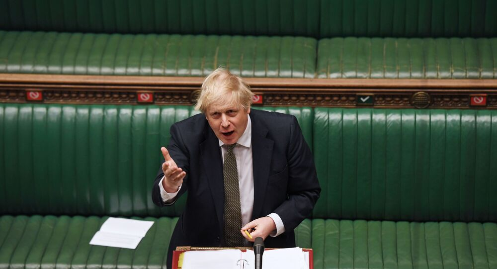 Britain's Prime Minister Boris Johnson speaks during the weekly question time debate in Parliament in London, Britain, 6 May 2020