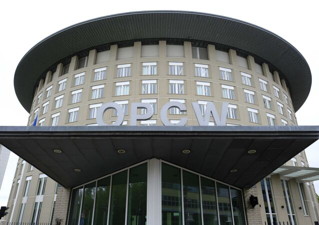 FILE - This Friday May 5, 2017 file photo shows the headquarters of the Organisation for the Prohibition of Chemical Weapons (OPCW), The Hague, Netherlands