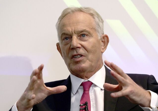 Former British prime minister Tony Blair gives a speech on Brexit at the Institute for Government in central London, 2 September 2019