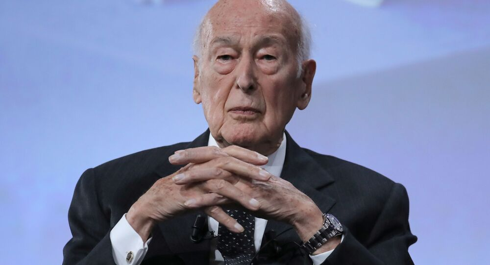 Former French President Valery Giscard d'Estaing looks on at the conference of the fiftieth anniversary of the election of Georges Pompidou to the Presidency of the Republic: With Georges Pompidou, think France: inheritances and perspectives in paris on June 20, 2019