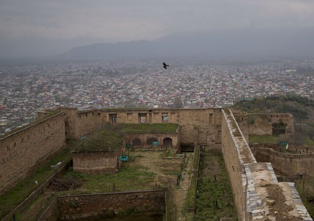 FILE - This April 5, 2016 file photo shows a view of Srinagar, the main city of Indian controlled Kashmir, as seen from the 18th century Hari Parbat Fort situated atop a hill