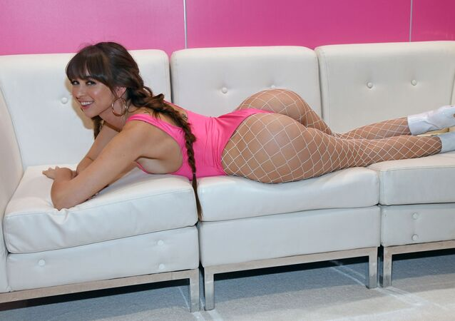 Adult film actress Riley Reid poses at the Reid My Lips booth at the 2020 AVN Adult Entertainment Expo at the Hard Rock Hotel & Casino on January 22, 2020 in Las Vegas, Nevada
