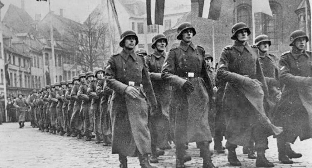 The Latvian SS Volunteer Legion on parade celebrating the 25th anniversary of National Latvia Day. Scherl photo service, 2 Dec 43