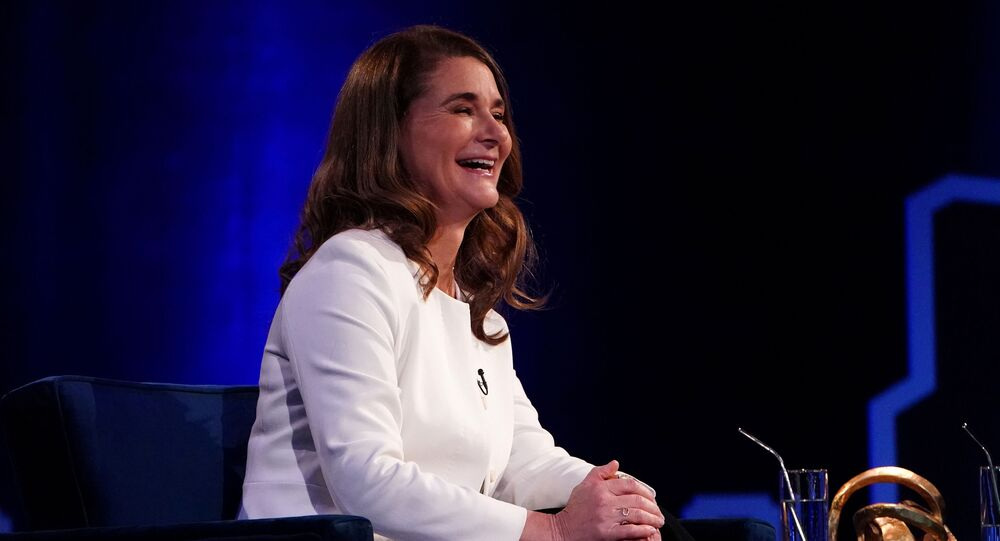 Melinda Gates speaks to Oprah Winfrey on stage during a taping of her TV show in the Manhattan borough of New York City, New York, U.S., February 5, 2019