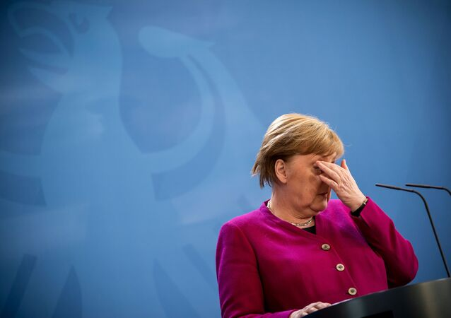 German Chancellor Angela Merkel gives a media statement after a video conference of EU leaders on the spread of the new coronavirus disease (COVID-19) in Berlin, Germany, April 23, 2020