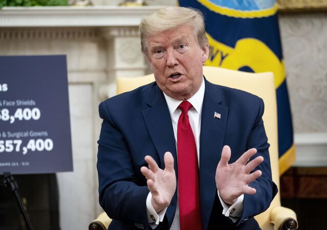 U.S. President Donald Trump speaks to reporters while hosting Texas Governor Greg Abbott about what his state has done to restart business during the novel coronavirus pandemic in the Oval Office at the White House May 07, 2020 in Washington, DC.