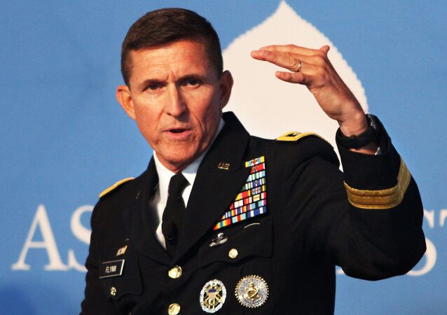 Army Lt. Gen. Michael Flynn, director of the Defense Intelligence Agency, discusses global threats during the Aspen Security Forum in Aspen, Colorado, July 26, 2014