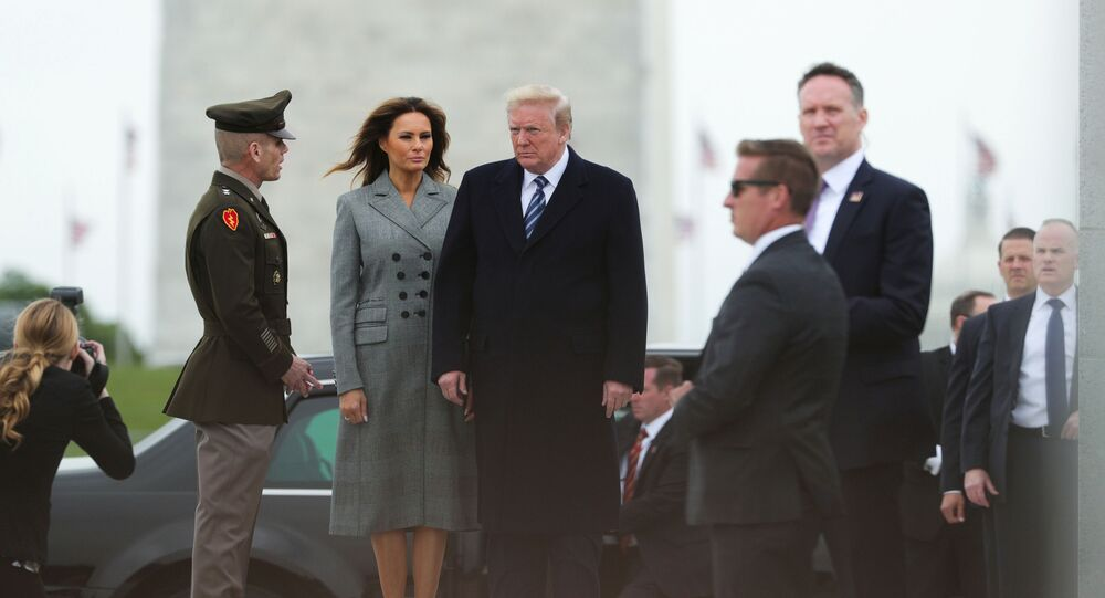 Donald Trump and first lady Melania Trump arrive for a Victory in Europe Day 75th anniversary ceremony at the World War II Memorial in Washington