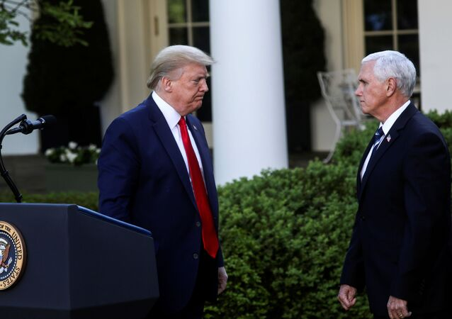 U.S. President Donald Trump turns to Vice President Mike Pence as they depart following a coronavirus response news conference in the Rose Garden at the White House in Washington, U.S., April 27, 2020.