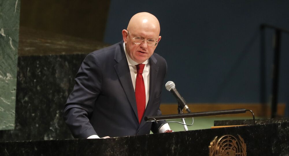 Russian ambassador to the United Nations Nebenzia Vassily speaks during a Holocaust memorial event at U.N. headquarters, Monday, Jan. 27, 2020.