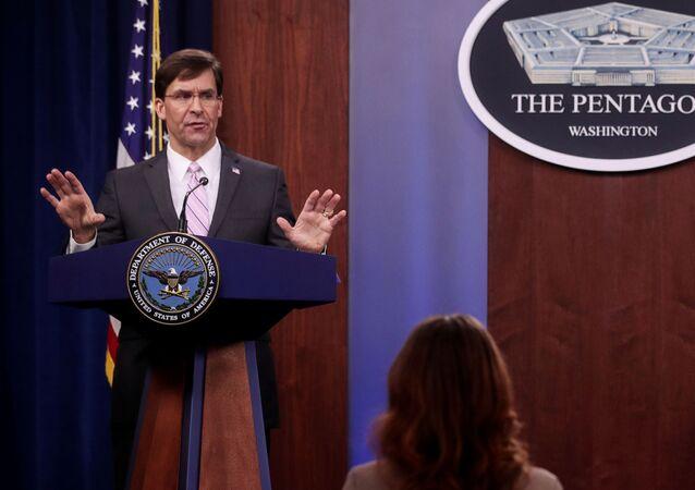U.S. Defense Secretary Mark Esper takes questions during a news conference at the Pentagon in Arlington, Virginia, U.S., April 14, 2020