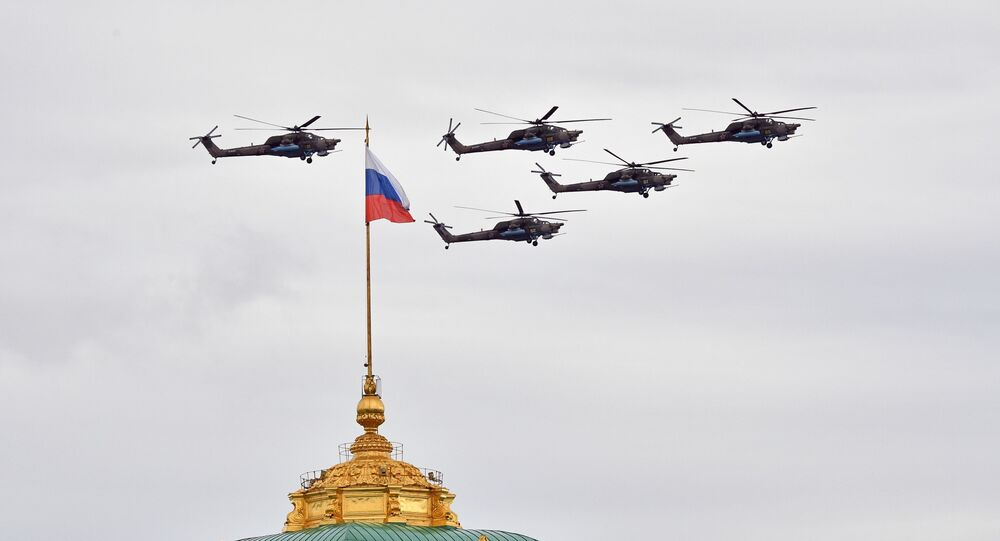 Mi-28 Helicopters Flying Over Moscow During the Victory Day Parade