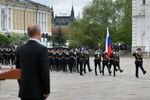 Russian President Vladimir Putin attends a parade of the Kremlin Regiment - also known as the Presidential Regiment - as part of the Victory Day events commemoratingits 75th anniversary
