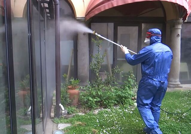 Russian military experts sanitize a  house for the elderly in the province of Brescia in Italy