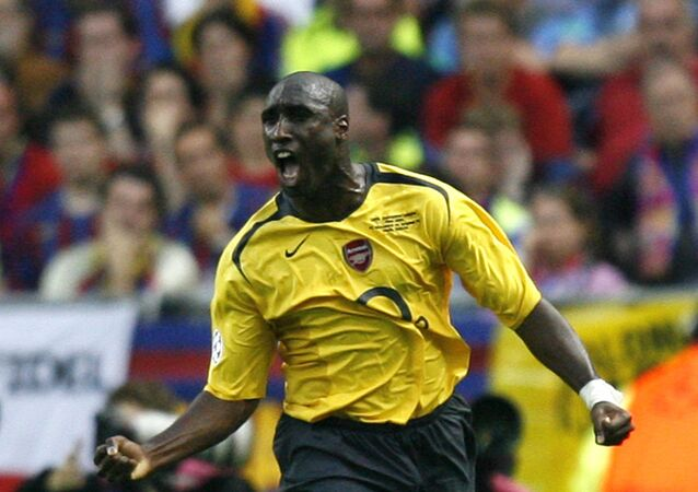 Arsenal's Sol Campbell celebrates after scoring against Barcelona
