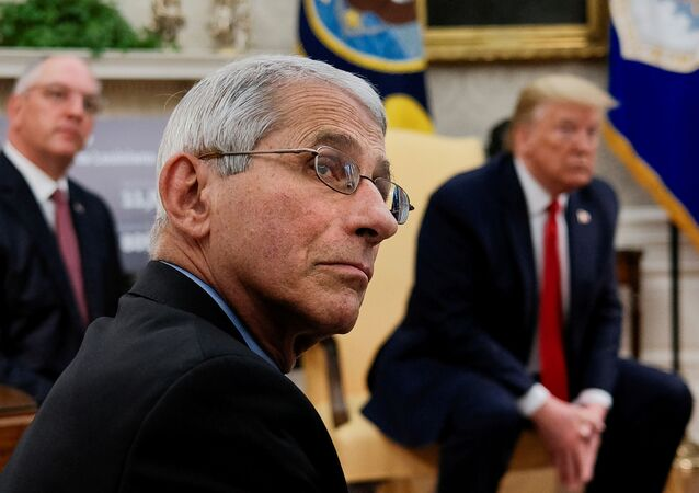 National Institute of Allergy and Infectious Diseases Director Dr. Anthony Fauci attends a coronavirus response meeting between U.S. President Donald Trump and Louisiana Governor John Bel Edwards in the Oval Office at the White House in Washington, U.S., April 29, 2020