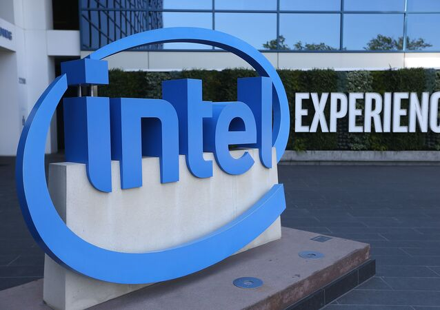 The Intel logo is displayed outside of the Intel headquarters on April 26, 2018 in Santa Clara, California. Intel will report first quarter earnings today after the closing bell.
