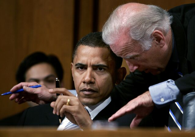 Senator Joseph Biden (D-De) confers with Senator Barack Obama (D-Il) during their participation in a Senate Foreign Relations Committee hearing on the nomination of John Bolton for the position of United States Ambassador to the United Nations, in Washington, U.S. April 11, 2005