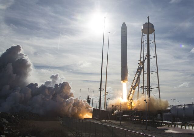 Northrop Grumman Antares rocket, with Cygnus resupply spacecraft onboard, launching from Pad-0A, on February 15, 2020 at NASA's Wallops Flight Facility in  Wattsville, Virginia.