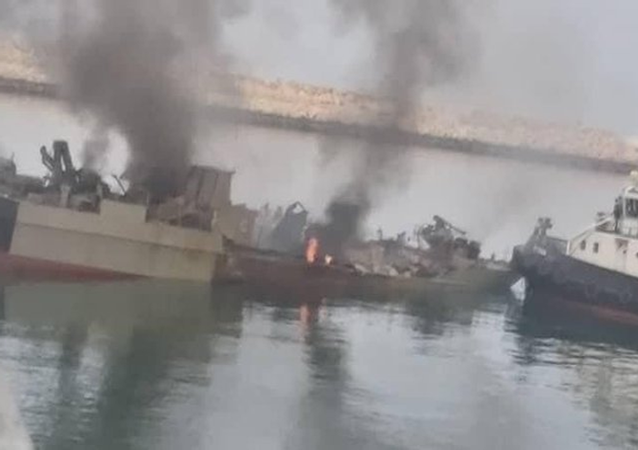 Remains of the Konarak general-purpose vessel following an apparent friendly fire incident near the Gulf of Oman.