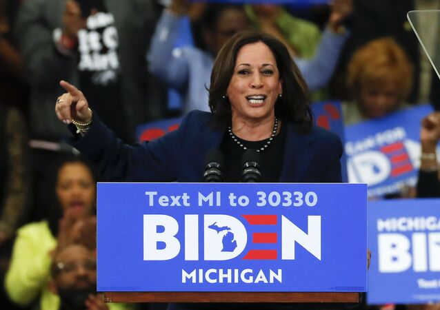Sen. Kamala Harris, D-Calif., speaks at a campaign rally for Democratic presidential candidate former Vice President Joe Biden at Renaissance High School in Detroit, Monday, March 9, 2020.