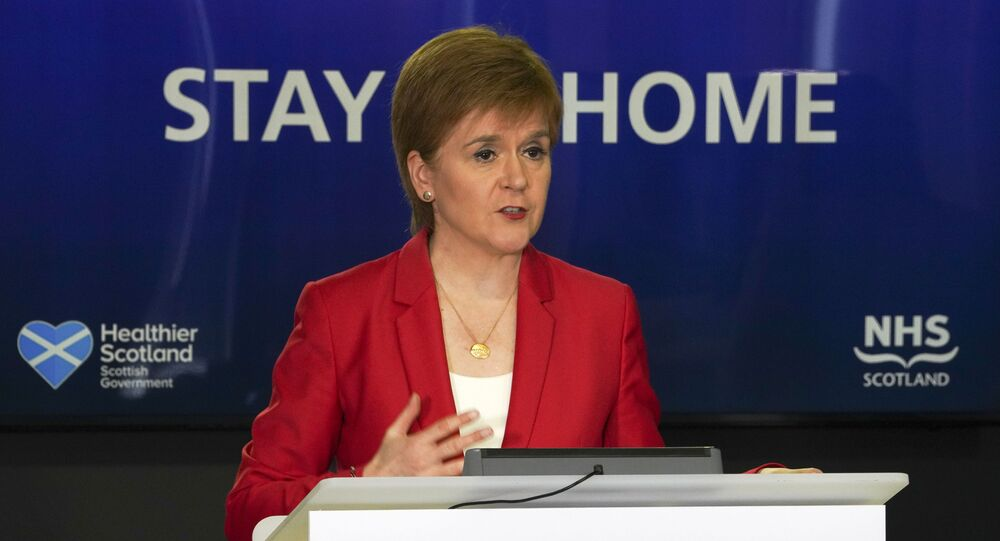 Scotland's First Minister, Nicola Sturgeon speaking during the Scottish government's daily briefing on the novel coronavirus COVID-19 outbreak, at St. Andrew's House, Edinburgh.