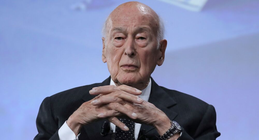 In this file photo taken on June 20, 2019 former French president Valery Giscard d'Estaing looks on at the conference of the fiftieth anniversary of the election of Georges Pompidou to the Presidency of the Republic, in Paris.