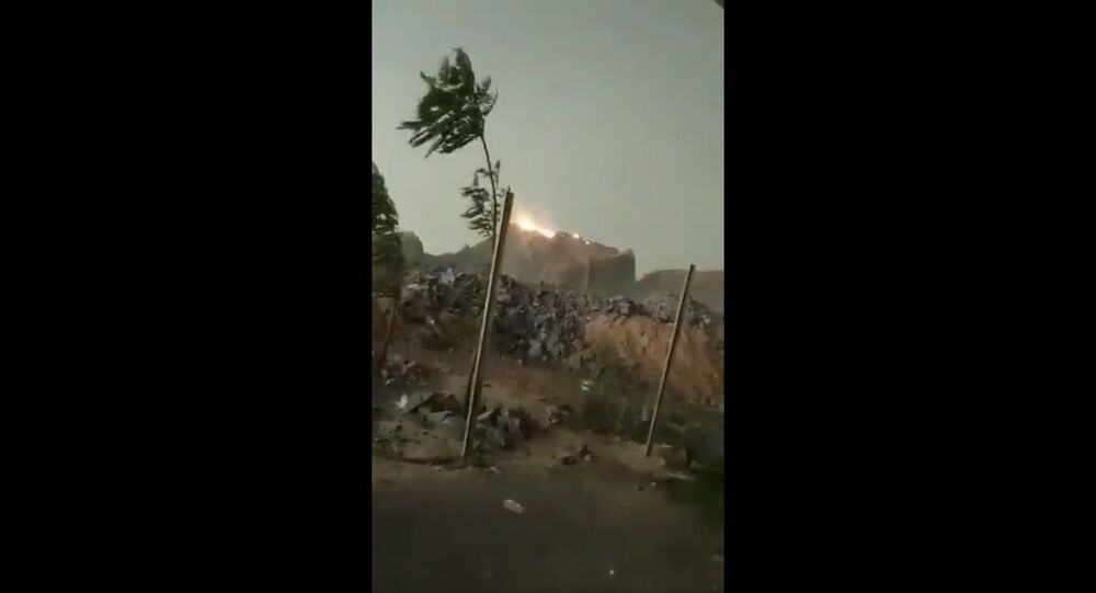 Lightning strike caught a mountain on fire near kabrai town in Mahoba district of UP