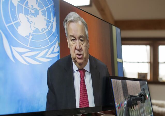 In this file handout photo released on April 03, 2020 by the United Nations, UN Secretary-General Antonio Guterres holds a virtual press conference, at UN headquarters in New York in which he enewed his call for a global ceasefire, urging all parties to conflict to lay down arms and allow war-torn nations to combat the coronavirus pandemic. - Broadly speaking, the coronavirus pandemic may have exacerbated global conflicts and disputes, especially between the United States and China, but in some cases it has also sparked cooperation between longtime rivals.