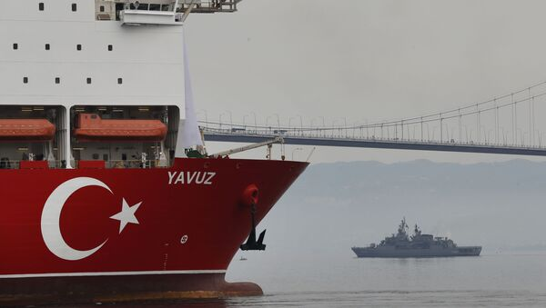 In this Thursday, June 20, 2019 file photo, Turkey's 230-meter (750-foot) drillship 'Yavuz' escorted by a Turkish Navy vessel, crosses the Marmara Sea on its way to the Mediterranean, from the port of Dilovasi, outside Istanbul - Sputnik International
