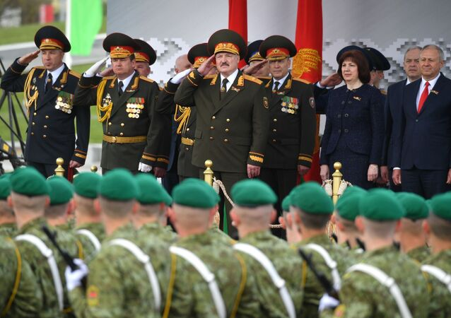 Belarusian President Alexander Lukashenko at the military parade dedicated to the 75th anniversary of victory in the Great Patriotic War, Minsk, Belarus, May 9, 2020.