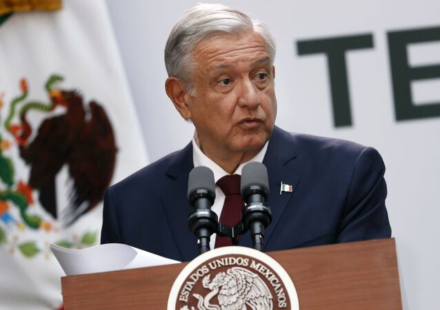 Mexican President Andrés Manuel López Obrador gives his first year's state of the nation address at the National Palace in Mexico City, Sunday, Sept. 1, 2019