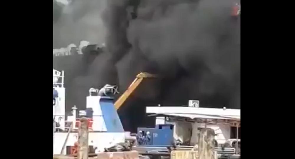 Oil tanker blaze, Indonesia