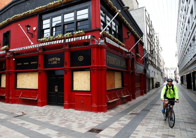 A closed and boarded-up pub is seen in Belfast during the coronavirus outbreak, in Belfast, Northern Ireland, May 7, 2020.