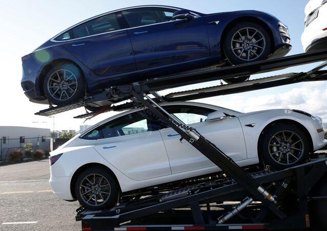 New Tesla Model 3 electric vehicles