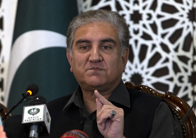 Pakistani Foreign Minister Shah Mahmood Qureshi speaks to reporters at the Foreign Ministry in Islamabad, Pakistan, Sunday, March 1, 2020