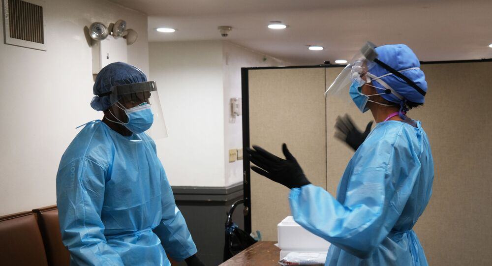 Medical workers in personal protective equipment in New York City