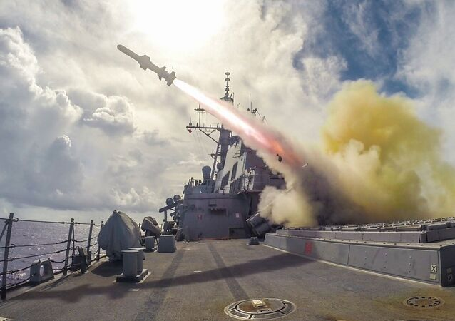 Harpoon missile fired in the waters near Guam