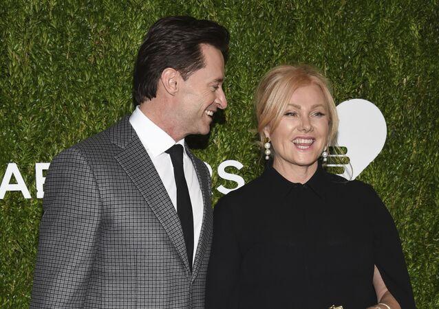 Actor Hugh Jackman and wife Deborra-Lee Furness attend the God's Love We Deliver Golden Heart Awards at Spring Studios on 16 October 2018, in New York.