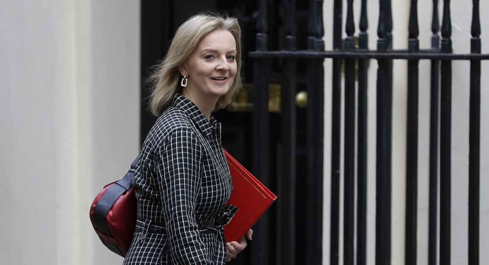 Britain's Secretary of State for International Trade Elizabeth Truss arrives for a Cabinet meeting at 10 Downing Street in London, Wednesday, Oct. 16, 2019