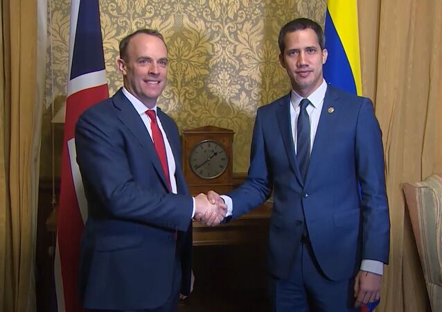 UK Foreign Minister Dominic Raab meets self-proclaimed interim Venezuelan president Juan Guaido