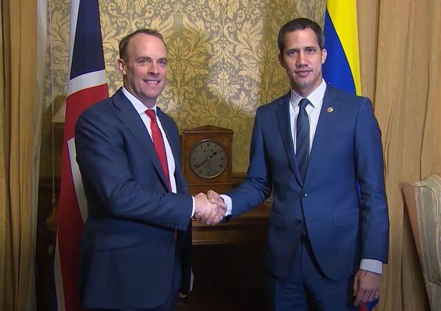 UK Foreign Minister Dominic Raab meets self-proclaimed interim Venezuelan president Juan Guaido