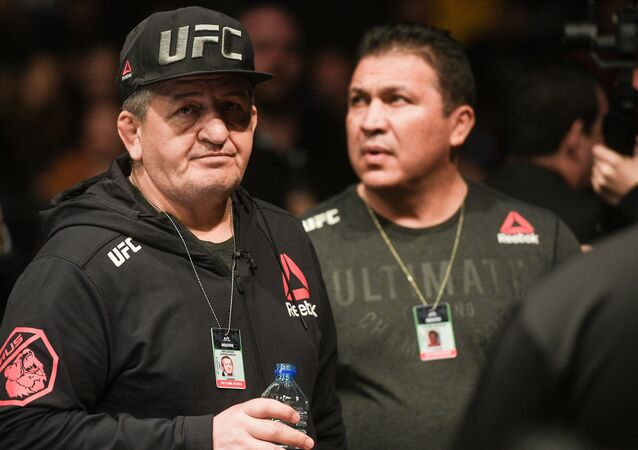 Father and coach of UFC lightweight  champion Khabib Nurmagomedov, Abdulmanap Nurmagomedov attends the UFC Fight Night 163 mixed martial arts event, at CSKA Arena, in Moscow, Russia