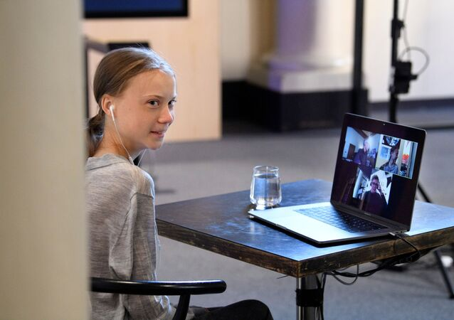 Environmental activist Greta Thunberg participates in a video conversation with Johan Rockstrom, who joins from Germany, about the coronavirus disease (COVID-19) and the environment at the Nobel Museum in Stockholm, Sweden on April 22, 2020