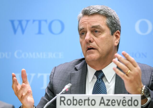 World Trade Organization (WTO) Director General Roberto Azevedo addresses a press conference following a WTO general council meeting on December 10, 2019 at the intergovernmental organization's headquarters in Geneva.