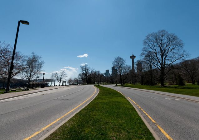 A empty road in the town of Niagara Falls is seen during the coronavirus pandemic on April 27 2020 in Niagara Falls, Canada