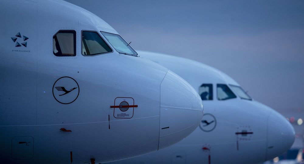 Aircraft of German Lufthansa airline are parked at the airport in Frankfurt, Germany, Monday, May 4, 2020