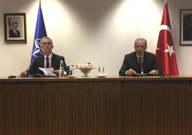 Turkish President Recep Tayyip Erdogan and NATO Secretary General Jens Stoltenberg in Brussels