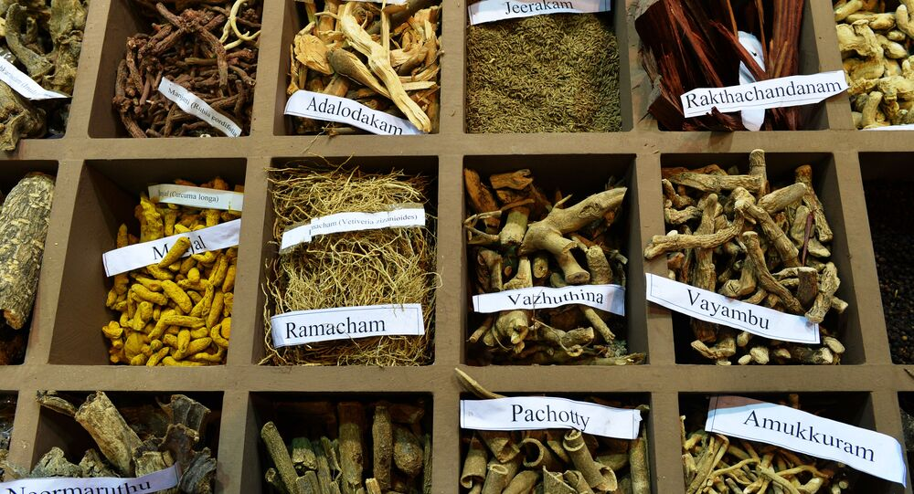 In this photograph taken on November 6, 2014, a display of herbs on a stand at the sixth World Ayurveda Congress and Arogya Expo in New Delhi.